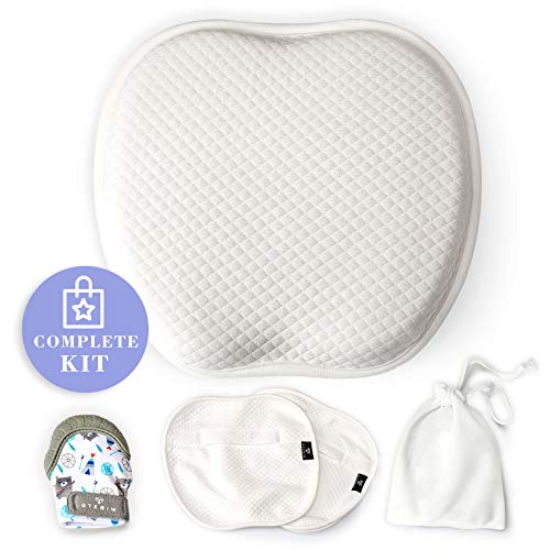 Flat Head Baby Pillow for Shaping - for Newborn and Infant with 2 Pillowcases and Baby Teething Mitten - for Sleeping and Neck Support - to Prevent Plagiocephaly and Keep the Round Shape of the Head