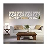 living room mirrors (TM)48pcs/Set Geometric Art Mirror Effect 3D Wall Sticker TV Backdrop Door Decorative DIY Painting Acrylic Sticker Living Room Home Decor 30120cm