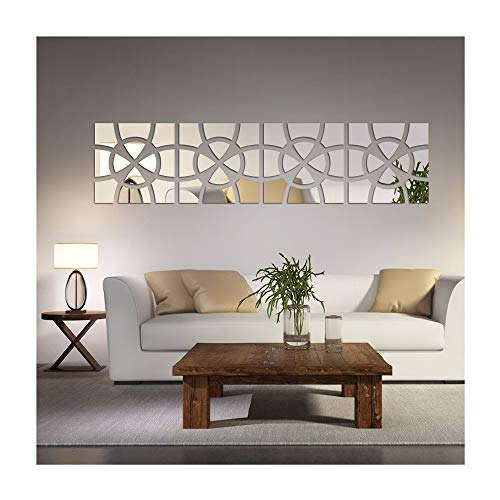 Alrens(TM 48pcs/Set Geometric Art Mirror Effect 3D Wall Sticker TV Backdrop Door Decorative DIY Painting Acrylic Sticker Living Room Home Decor (Mirror Wall Art)
