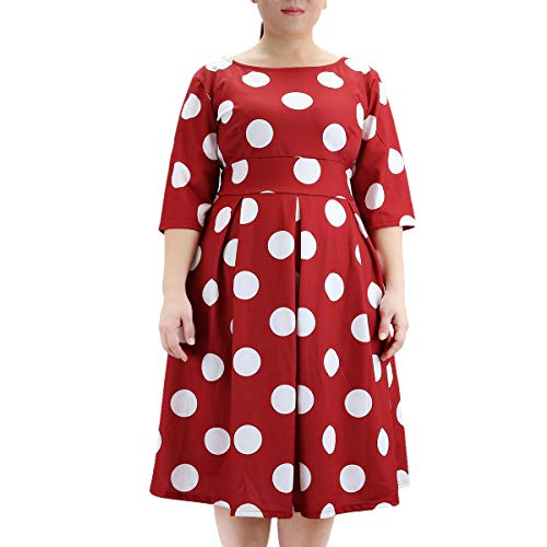 (Samtree Women's Plus Size Floral 3/4 Sleeve Backless Cocktail Party Swing Dress(Tag Size 5XL(US 18 W),Red Polka)