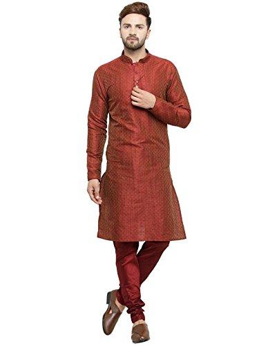 Larwa Men's Jacquard Kurta Pyjama Set Gold Special for Diwali