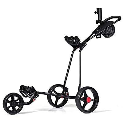 Tangkula Golf Push Cart, 3 Wheels Folding Lightweight Golf Club Push Pull Cart Trolley Golf Pull Cart
