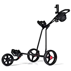 Product DescriptionTangkula folding golf cart constructs strong steel frame and 3 EVA cover wheels. The golf push cart wheels are removable to save storage room. The construction is stable and will hold any size golf bag. 3 wheels provides ex...