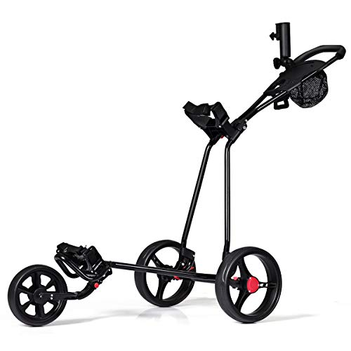 Tangkula Golf Push Cart 3 Wheels Folding Lightweight Golf Club Push Pull Cart Trolley Golf Pull Cart