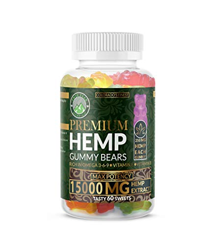 Hemp-Gummies-Premium-15000-Milligram-High-Potency-250-Per-Fruity-Gummy-Bear-Stress-Relief-Inflammation-Pain-Restful-Sleep-Anxiety-Rich-in-Omega-3-6-9-Vitamin-E-and-Vitamin-B