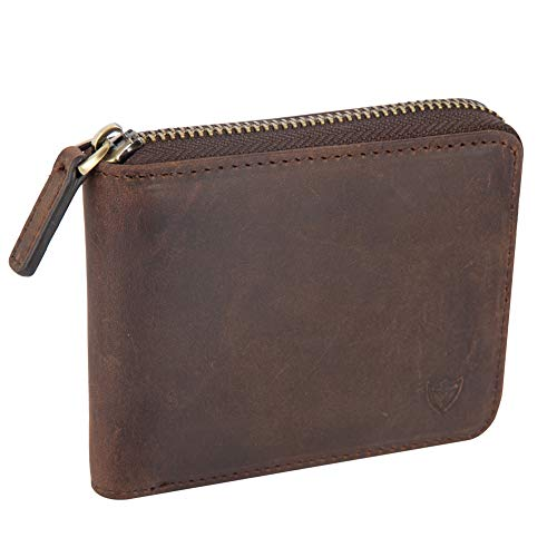 Mens Genuine Leather Zipper Wallet, Upgrade RFID Blocking, Multi Card Holder Purse with Bifold ID Window and Coin Pocket (Coffee)