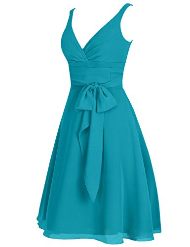 Cdress Evening Dresses Prom Bridesmaid Blue Short Gowns V Neck Chiffon Double Junior Straps Sky vESvxTwqr