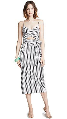 MILLY Women's Estella Dress, White/Black, 2 (Cotton Dress Milly)