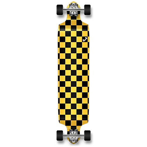 Yocaher Checker Graphic Professional Speed Drop Down Stained Complete Longboard (Checker Yellow)