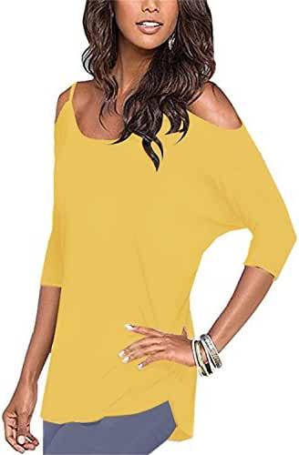 Styleword Women's Three-quarter Sleeves Off Shoulder Casual Shirt Tops