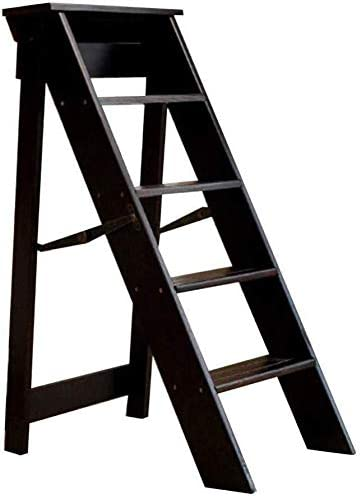 KJAEDL Paso Cocina Silla Taburete Plegable de Madera Escalera Plegable Taburete de Tijera Plegable 5 Pasos Inicio Renovación de Interior de Alta los 88CM Muebles (Color : Black): Amazon.es: Hogar