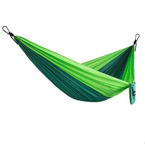 Ouneed Camping Hammock, Portable Nylon 2-Person Double Hammock 2 x Hanging Straps, Parachute Lightweight Hammocks Rope Hanging Swing Camping, Hiking, Backpack Tiravel (Green & Fruit Green)