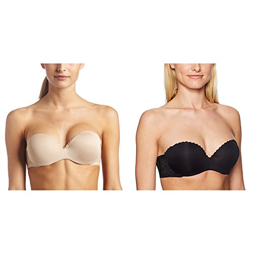 Lily of France Women's Gel Touch Strapless Push Up Bra 2111122, Barely Beige/Black, 38B