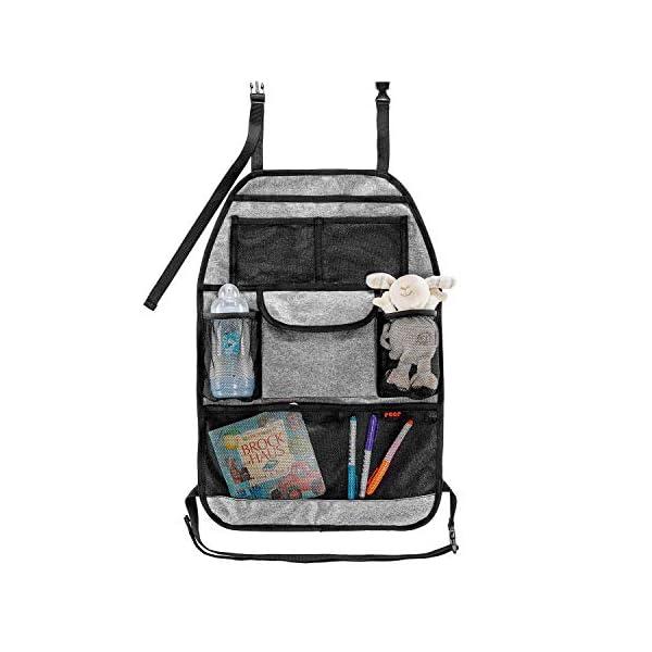 41Wy2UOcqDL reer Autorücksitz-Organizer TravelKid Tidy, schmutzabweisend, viele Taschen, für alle Autositze, auch Sportsitze, grau