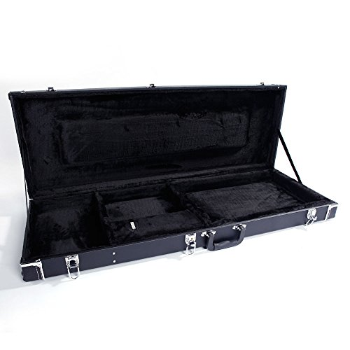 (Glarry ST Deluxe Electric Guitar Hard Shell Case Portable Square Guitar Case Microgroove Flat With Extra Neck & Bridge Padding (Black))