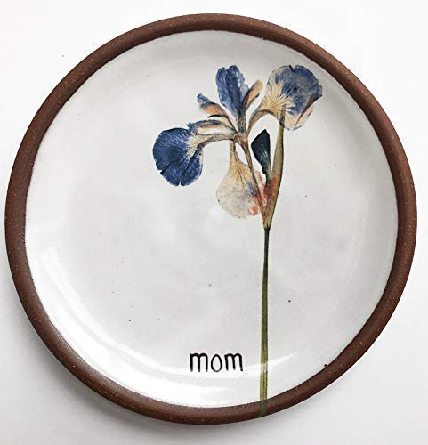 Personalized Pressed Iris Jewelry Dish, Handmade Pottery