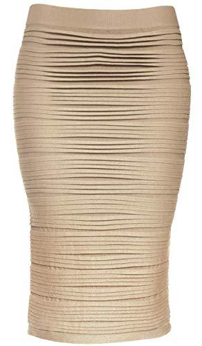 KMystic Strapless Tube Dress and Pencil Midi Bodycon Skirt in One (Khaki)