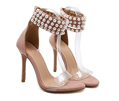KHSKX-8.5Cm Pink Shoes Shoes With High Heels Fine Women Sandals Open Toed Shoes Pearl Thirty-seven
