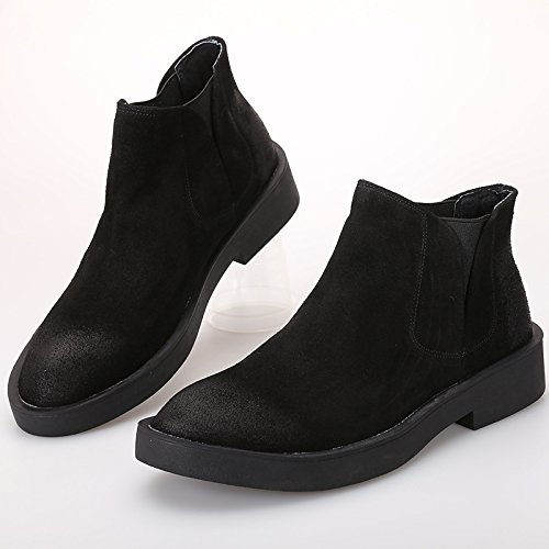 Hohe Schuhe, Hilfe Freizeit - Schuhe, Hohe Chelsea Stiefel, Leder Kurze Stiefel, Um Kopf und Hohen Schuhen Helfen,Schwarz,38 1afafa