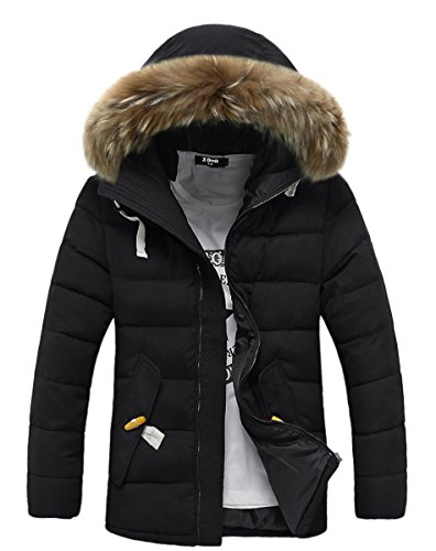 Womens Light Weight Down Coat With Fur Hood Parka Puffer Jacket Coat with Pockets Black US 14 / Tag Size 2XL