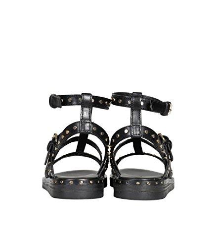 Janet & Janet Dames Lederen Sandaal Met Klinknagels Zwarte Zwarte Goud