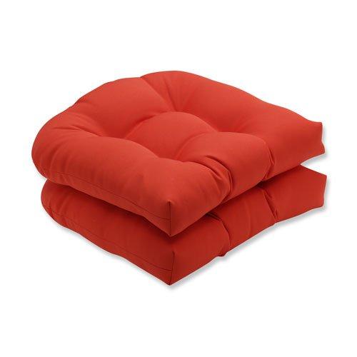 Pillow Perfect Outdoor / Indoor Splash Mango Wicker Seat Cushion (Set of 2)