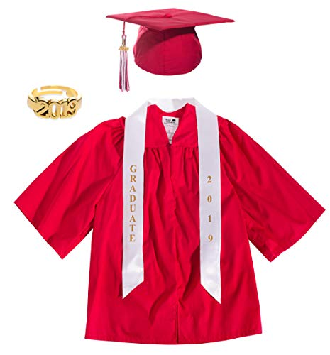 Red Preschool Graduation Cap, Gown, Tassel, Sash, Ring, and Certificate - Small...