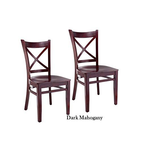 Beechwood Mountain LLC Cross-back Cherry-finish Wood Dining Chairs (Set of 2) Mahogany