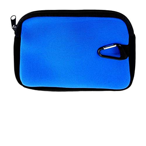 Accessory Pouch With Carabiner, Devices, Cameras, Cords - Blue Neoprene, LT3005
