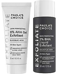 Paula's Choice SKIN PERFECTING 8% AHA Gel Exfoliant & 2% BHA Liquid Travel Duo, Facial Exfoliants for Blackheads & Wrinkles, Face Exfoliators w/Glycolic Acid Salicylic Acid
