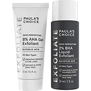 Paula's Choice-SKIN PERFECTING 8% AHA Gel Exfoliant & 2% BHA Liquid Duo-Facial Exfoliants for Blackheads Enlarged Pores Wrinkles and Fine Lines Face Exfoliators w/Glycolic Acid Salicylic Acid