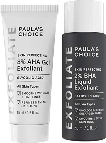 Paula's Choice-SKIN PERFECTING 8% AHA Gel Exfoliant & 2% BHA Liquid Travel Duo-Facial Exfoliants for Blackheads Enlarged Pores Wrinkles and Fine Lines Face Exfoliators w/Glycolic Acid Salicylic Acid