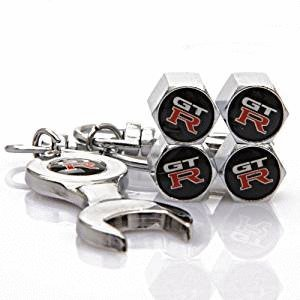 Gtr Combo (Combo Set GTR Tire Valve Caps and Wrench Keychain Fit For Nissan Car Model)