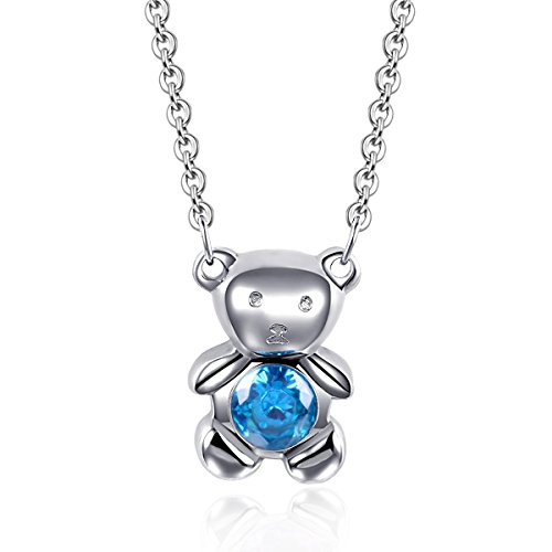 EverMarker Stainless Steel Lovely Little Bear Cz Inlaid Women Gift Pendant Chain Necklace (Blue) (Blue)