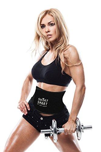 Waist Trimmer Premium Weight Loss Ab Belt for Men Women Workout Sweat Enhancer Exercise Adjustable Wrap for Stomach- Enjoy Sweet Abdominal Muscle Back Support (Medium-Black: 8 Width x 41 Length)