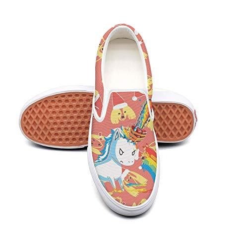 Women's Fashion Shoes Unicorn Chainsaw Massacre Rainbow Comfortable Loafers Slip on Casual Walking -