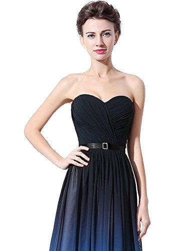 Sarahbridal Damen Lang Chiffon Ballkleid Herzenform Mehrfarbig Abendkleider Partykleider SSD314 Black & Royal Blue EU36