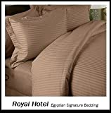 Best Royal Hotel Sheets 100 Cottons - Split-King: Adjustable King Bed Sheets 5PC Stripe Taupe Review
