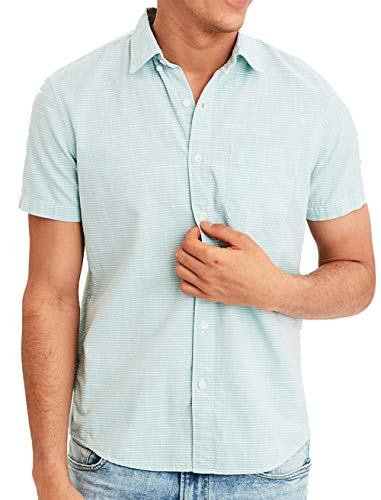 American Eagle Mens Short Sleeve Striped Button Down Shirt, Seafoam (XL)