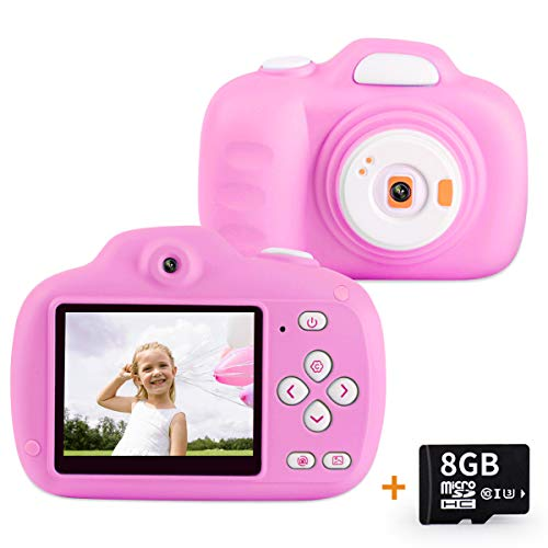 AIDISITE Kids Camera Gifts for 3-12 Year Old Girls HD 12.0MP 2.3 Screen Video Camera for Kids Soft Anti-Drop Children Toy Camera Mini Camcorder with 1000mAh Battery (8G TF Card Included, Pink)