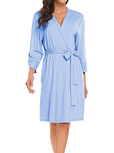 BLUETIME Womens Cotton Robe Knit Bathrobe Sleepwear Soft Bath Robes (S, Blue)