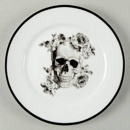 Ciroa Halloween Wicked Black Skull Canape/Dessert Plates - 5-3/4