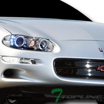 Topline Autopart Euro Chrome Housing Front Signal Bumper Lights With Rear Side Marker Lamps K2 For 1993-2002 Chevy Camaro
