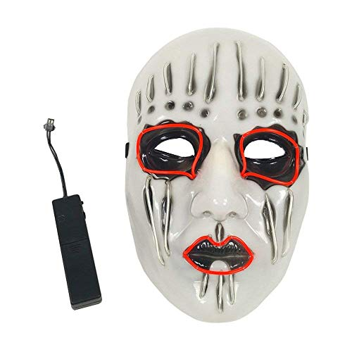 Weite Halloween Painted Face Puppet LED Mask Cool Glowing Bar Party Dancing Full Face Rave Masks (White) for $<!--$6.19-->