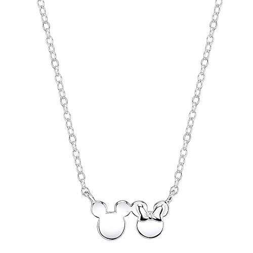 Mickey Mouse Pendant - Disney Sterling Silver Minnie and Mickey Mouse Silhouette Pendant Necklace, 16