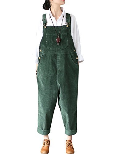 Yolee Women's Winter Drop Crotch Corduroy Loose Bib Overall Dark Green