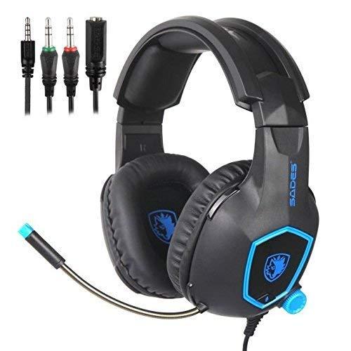 Auricolare Gaming, Sades SA818 PS4 Gaming auricolare per Xbox One, PC, Switch, tablet, laptop Nintendo, mobile, con microfono a LED su ear cancellazione del rumore e controllo del volume (nero e blu) SHENZHEN SADES DIGITAL TECHNOLOGY CO. LTD.