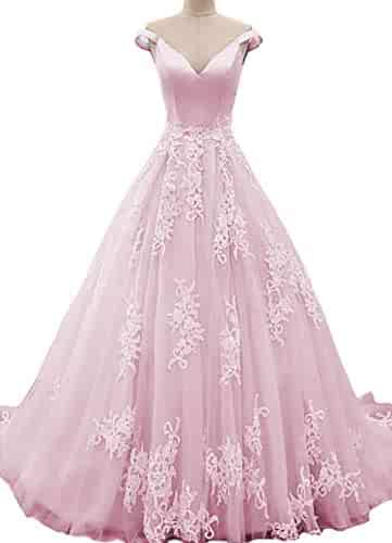 96b2bdd0d5 IVYPRECIOUS Off-The-Shoulder Quinceanera Dresses Ball Gown Lace Prom  Dresses Long Formal Evening