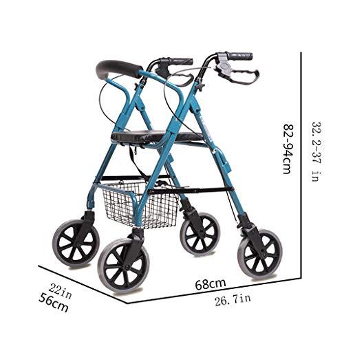 HMHD Plegable Andador para Ancianos de 4 Ruedas | 40cm Asiento ...