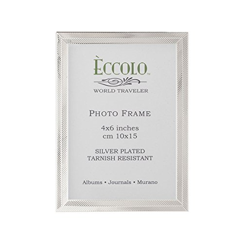 Eccolo Herringbone 4x6 Silver Plated Picture Photo (Sterling Silver Heart Picture Frame)